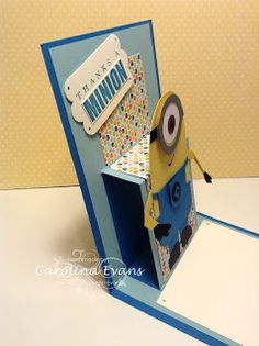 Minions, Despicable Me, Punch Art, Cased by Tania Bell, pop up card, Stampin' Up! a creation by Carolina Evans