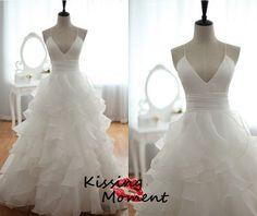 Elegant Aline white Organza Wedding dresses Sexy by Kissingmoment, $159.99
