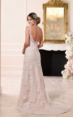 6116 Lace Over Satin Sheath Wedding Dress by Stella York