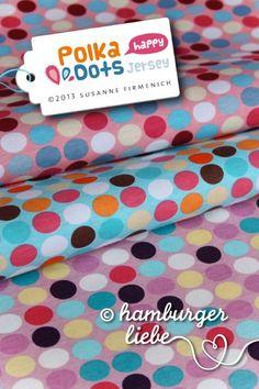 wunderschöner Jersey, der einfach nur *happy* macht :)    Design: Polka Dots in türkis    brandneue Serie **Happy** von Hamburger Liebe