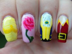 Megs Manicures: Disney Series: Beauty and the Beast Beauty And The Beast Nails, Beauty And The Beast Party, Disney Beauty And The Beast, Beauty Beast, Love Nails, Fun Nails, Pretty Nails, Nail Designs Spring, Cute Nail Designs