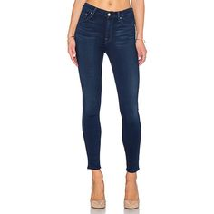 7 For All Mankind Slim Illusion High Waist Ankle Skinny Denim ($198) ❤ liked on Polyvore featuring jeans, pants, blue skinny jeans, denim jeans, high waisted denim jeans, highwaisted skinny jeans and high-waisted jeans