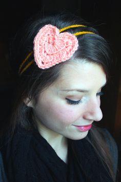 Boho Heart Headband  crochet handmade Aphrodite by ASimpleCraft