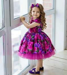 Flower Girl Dresses Kids Bows A Line Knee Length Wedding Party Dress - Baho Baba Kids Party Wear Dresses, Baby Girl Party Dresses, Little Girl Dresses, Girls Dresses, Flower Girl Dresses, Pink Dress, Frocks For Girls, Kids Frocks, Dress For Girl Child