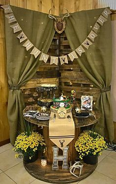 My Son's Grooms Table Hunting Birthday Cakes, Cake Table Birthday, Cake Table Backdrop, Cake Table Decorations, Bride Groom Table, Wedding Groom, Hunting Wedding, Hunting Party, Grooms Cake Tables