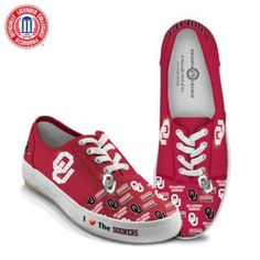 8df1b95faf9d5c I Love The Sooners Women s Shoes. Stitched canvas sneakers in crimson red  with OU logos and the Boomer Sooner® name.