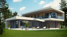 Modern house with perfect lawn House Architecture Styles, Architecture Building Design, Facade Design, Village House Design, Village Houses, Modern House Floor Plans, Modern House Design, Flat Roof House, Beautiful House Plans