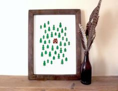 Screen print poste,r wall art, woodland print by hello DODO, £25.00
