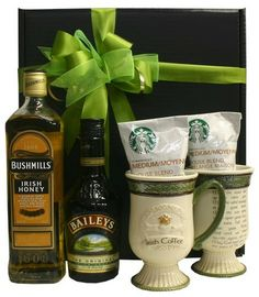 Bushmills Irish Wiskey 750ml and Bailey's 375ml boxed with two ceramic Irish Coffee Mugs and two packages of coffee, enough to make up to 10 cups. #irish #coffee #whiskey #stpatricksday
