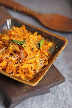 Raw Papaya Stir Fry | Papaya Thoran ~ Sankeerthanam (Reciperoll.com)|Recipes | Cake Decorations | Cup Cakes |Food Photos