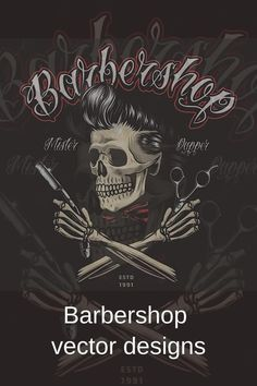 Cool retro barbershop designs are available to download on www.dgimstudio.com. The designs will help to make your barbershop really unique! You can use the elements of the set for the creation of any design for your purposes. #barbershop #barber #skull #skulldesigns #vector #vectorillustration Crane, Vector Design, Graphic Design, Barber Shop Decor, Barbershop Design, Salon Interior Design, Monochrome Fashion, Skull Design, Psychobilly