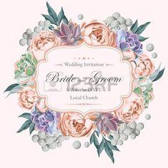 succulent: Vector Vintage-Hochzeitseinladung mit Pfingstrose Rosen und varicolored Succulenten