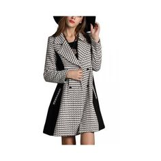 Women Casual Plus Size Long-sleeve Houndstooth Lapel Coat ($64) ❤ liked on Polyvore featuring outerwear, coats, plaid, lapel coat, houndstooth wool coat, plaid wool coat, woolen coat and houndstooth coat