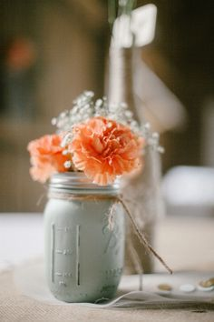 This DIY centerpiece is a great example of rustic charm. Carnations and Baby's Breath are affordable, hardy, and look beautiful together! Shop Carnations and Baby's Breath year-round at GrowersBox.com!