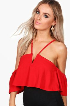 Jessica Plunge Cold Shoulder Swing Crop