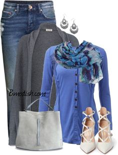 Fabulous Spring Polyvore Outfit Ideas You Must See - love top, scarf and cardigan. Don't really like blue but this is cute