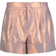 Raoul Iridescent coated-twill shorts ($125) ❤ liked on Polyvore featuring shorts, high rise shorts, raoul, loose high waisted shorts, fold over shorts and twill shorts