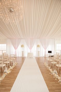 Wedding Flowers and White Fabric Draping