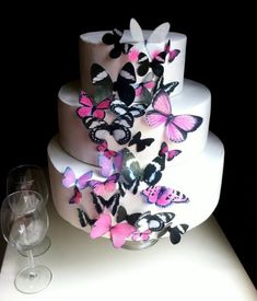 Edible Butterflies © - Assorted Set of 30 Pink and Black - Cake Decorations, Cupcake Topper >>> Awesome deals : Baking decorations
