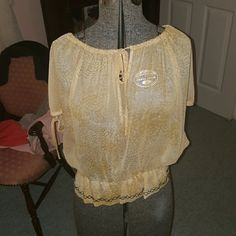 Guess shirt Yelllowish , see through beautiful Guess shit  Never worn! Guess Tops