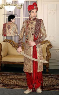 Picture of Aesthetic Cream Color Designer Sherwani for Wedding Mens Fashion Summer Outfits, Mens Fashion Casual Shoes, Mens Fashion Sweaters, Mens Fashion Week, Mens Fashion Suits, Mens Sherwani, Wedding Sherwani, Indian Men Fashion, India Fashion Week