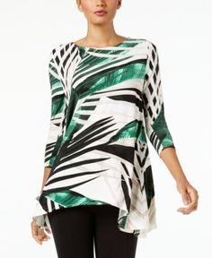 Alfani Petite Printed Handkerchief-Hem Swing Top, Created for Macy's - Green P/XL