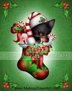 christmas cat fine art print