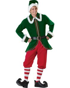 Santa's Elf Adult Costume at spirithalloween.com - Santa is masterful in the way he distributes so many gifts in so little time, but he still needs a some help every now and then. Suit up in this Santa's Elf adult costume and lend a helping hand. This flocked velvet jacket comes complete with pants, belt, hat, striped knee socks and shoe covers with bell accent. Get yours for $119.99
