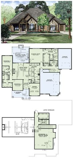 House Plan 82162. Put a door between the master closet to the laundry room and it's perfect!