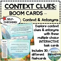 Boom Cards - Context Clues and Antonyms Vocabulary List, Vocabulary Building, Vocabulary Words, Context Clues, Figurative Language, Inference, Reading Skills, Idioms, Student Learning
