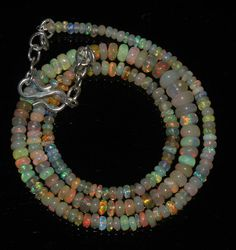 """38 Ctw 1Necklace 2to6 mm 16""""Beads Natural Genuine Ethiopian Welo Fire Opal 97155"""
