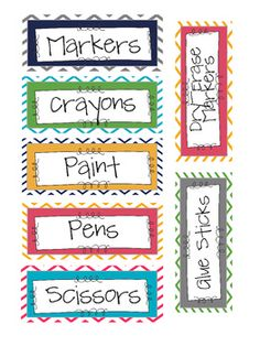 Chevron classroom supply labels!