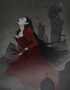 """Vampire"" by IrenHorrors @ deviantart Vampire Girls, Vampire Art, Dark Fantasy Art, Dark Art, Vampire Drawings, Vampires And Werewolves, Arte Obscura, Creatures Of The Night, Goth Art"
