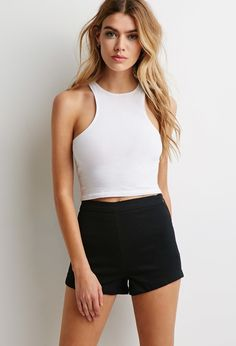 $12, Black Denim Shorts: Forever 21 Clean Wash High Waisted Shorts. Sold by Forever 21. Click for more info: https://lookastic.com/women/shop_items/225987/redirect
