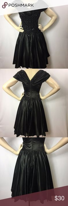 Vintage 80s Zum Zum Cocktail Dress Satin Sequins Brand Zum Zum Size tag says 7/8, fits like a 6 Color black Lined yes, with black bottom netting/lace Fabric 100% Acetate Length knee length, Back zipper Bodice has black lace and sequins detail, flower in center on neckline  Condition Used: Deodorant stains under armpit.   Please refer to the following measurements to insure a proper fit. All measurements are taken with the item lying armpit to armpit 16 inches waist side to side 13 torso…