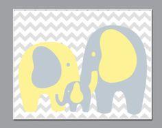 Elephant Nursery Art Wall Art Prints Blue Gray Stack by HopAndPop