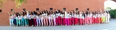 Chapter photo shoot idea: everyone wore bright colored pants, a white top and wedges and lined up to make a rainbow! #gammaphibeta #ASU #PhotoIdeas