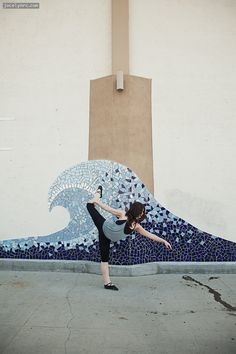 wave mosaic on wall