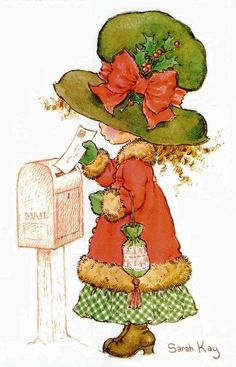 Sarah Kay--love getting Christmas cards and letters! Sarah Key, Holly Hobbie, Vintage Christmas Cards, Vintage Cards, Christmas Crafts, Christmas Post, Christmas Images, Merry Christmas, Mary May
