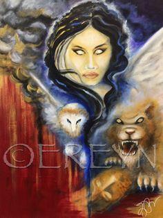 ISHTAR by artist Erin Reynolds A striking acrylic painting of the goddess Ishtar,Innana,Astarte