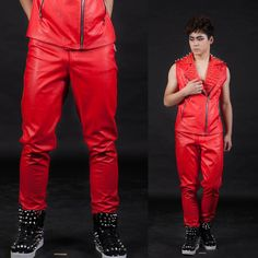 New style fashion red color male ds high quality slim leather pants gentleman singer dancing stage show men's trousers