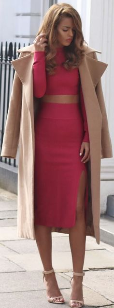 Nude Sandals Red Bandage Midi Dress Camel Oversized Coat Fall Inspo                                                                             Source