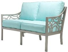 Manhattan Outdoor Loveseat with Cushions-Available in a Variety of Finishes. Product in photo is from www.wellappointedhouse.com