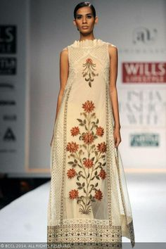 Surjeet Kaur walks the ramp for designer duo Ashima-Leena on Day 2 of Wills Lifestyle India Fashion Week (WIFW) autumn-winter (AW) 2014, held in Delhi, on March 27, 2014.