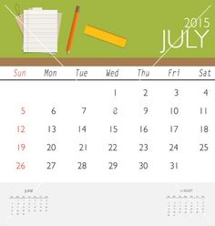 2015 calendar monthly calendar template for july vector  by jannoon028 on VectorStock®