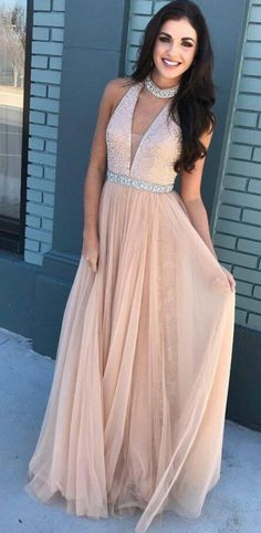 Beaded Bodice Halter Prom Dress,Chiffon prom Dress,Pink V-neck Prom Dress,Long Tulle Prom Dresses,A-Line Long Evening Dresses,P1151