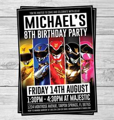 Power Rangers Birthday Party Invitations for Kids (Party Supplies, Party Decorations, Printable, Customizable, Superhero)