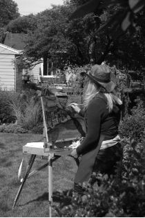 Artist Mary Lanka painting plein air during the 2015 Tri- Cities Garden Club Garden Walk in Grand Haven, Michigan. Grand Haven, Tri Cities, Garden Club, Wearable Art, Painting & Drawing, Jewelry Art, Michigan, Mary, Fine Art