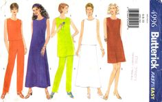 Misses PATTERN Dress Top Tunic Skirt Pants sz 6 8 10 semi fitted a line dress sleeveless skirt side slits tapered pants New Uncut 1990s by BlondiesSpot2 on Etsy