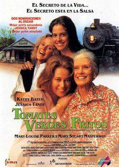 """""""Tomates verdes fritos"""" Película estadounidense de 1991, basada en la novela homónima (con algunos cambios) de Fannie Flagg, y dirigida por Jon Avnet. Protagonizada por Kathy Bates, Jessica Tandy, Mary Stuart Masterson, Mary-Louise Parker..."""